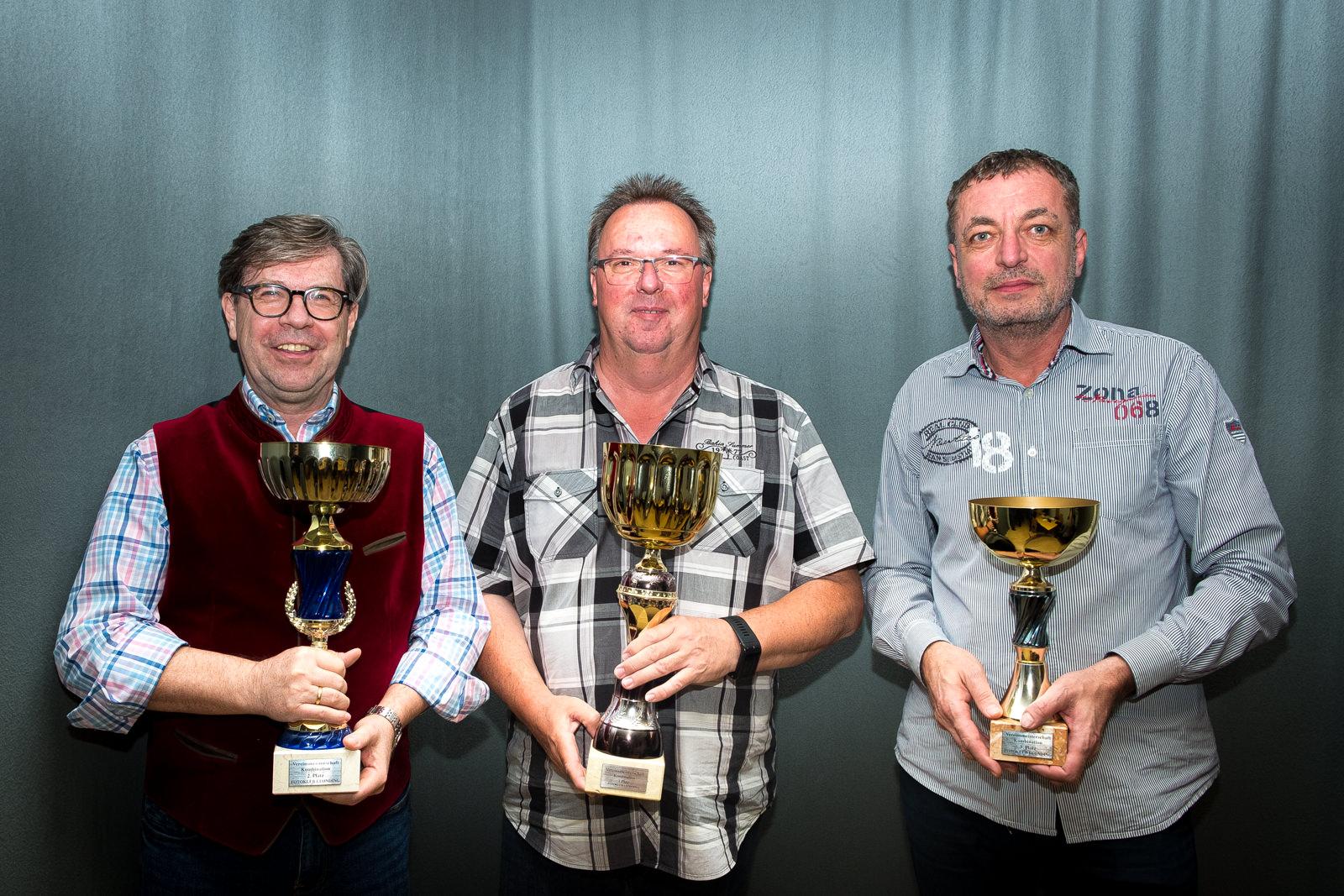 Klubmeisterschaft Sieger: Kurt Steindl (2. Platz), Helmut Ming (1. Platz), Kurt Bayerl (3. Platz)